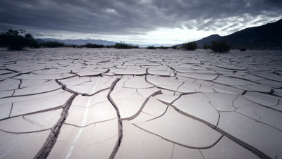 Dry,cracked earth in lake bed,CA