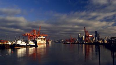 Docks and Cranes,Seattle Harbor,WA