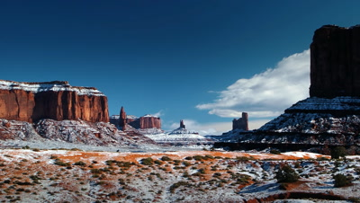 Rare snowstorm at Monument Valley Tribal Park,AZ