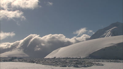 Timelapse Clouds Over Antarctic Mountains