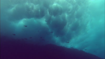 Bubbles Rising Into Waves Crashing From Undersea