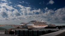 Time Lapse, Clouds Move Over Cruise Ship In Venice