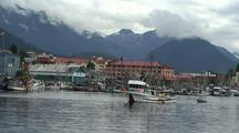 Fishing Boats In A Scenic Southeast Alaska Harbor