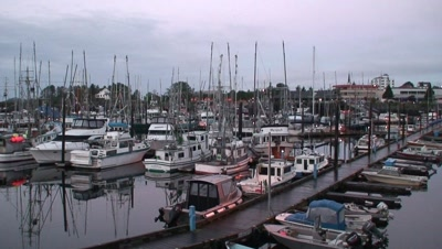 Fishing Boats And Coastal Community Boat Harbor.