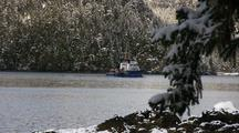 Alaska Fish And Game Research Ship In A Bay/Inlet