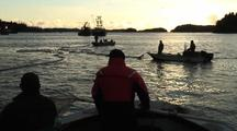 Commercial Fishing: Fish Tender, Skiffs, Nets & Birds (Sunset)