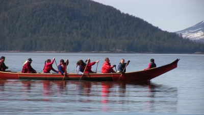 Alaska Native (Tlingit & Haida) Canoe. Mt. Edgecumbe Volcano In Background.