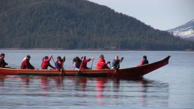 Alaska Native (Tlingit & Haida) Canoe. Mt. Edgecumbe Volcano In Background.