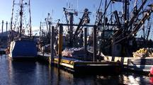 Commercial Fishing Boats Docked At Port