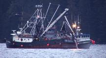 Commercial Fishing Boat With It's Soduim Lights On