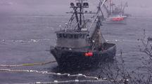 Commercial Fishing Boats In A Snow Storm