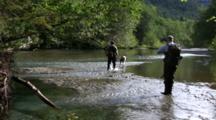 Hunters And Dog Hike Up A Stream