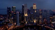 Evening View Of The High Rising Buildings Of Boat Quay In Singapore
