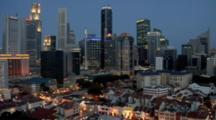 Skyline Of Singapore CBD At Night