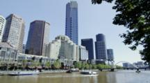 Sightseeing Boats On The Yarra River With Southgate Buildings At The Back