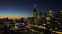 Time Lapse, Overlook View Of East Melbourne At Nightfall