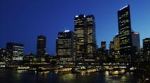 Skyline Of The Sydney CBD And Circular Quay Ferry Terminal Time Lapse Day To Night