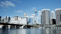 Pyrmont Bridge With Monorail And The CBD Of Sydney With Sydney Tower
