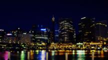 Time Lapse, Cbd Of Sydney With Sydney Tower At Night