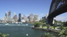 The Skyline Of Sydney With Harbour Bridge