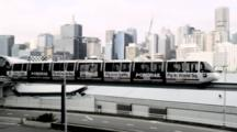Monorail Leaving Darling Harbour Station With Cbd As Background
