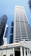 High Rise Buildings On Raffles Place With Sculpture In Front