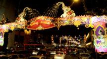 Traffic Through Decorations Of Deepanvali (Festival Of Lights) In Serangoon Rd. (Little India)