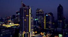 Time Lapse High Rise Buildings Of The Sathorn Business District Early Evening