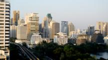 Panorama Of Skyline Of Bangkok Ploenchit And Sukhumvit Business District Late Afternoon