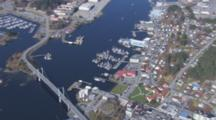 Aerial Cineflex City Of Sitka Alaska Pull From Tight On Hotel To Wide