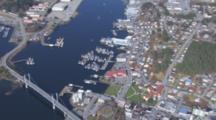 Aerial Cineflex City Of Sitka Alaska Wide Shot Push To Hotel