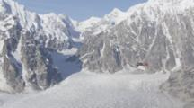 Merging Of Massive Glacier Ice Flows In Rugged Mountains Of Alaska Range, Tilt Up To Reveal Small Bush Plane Flying Over Ice Fields Below Mountain Summits. Zatzworks Cineflex Aerials Of Denali National Park, Bush Planes, Air To Air, Glaciers, National Park, Cineflex
