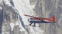 Distant Shot Of Small Bush Plane Flying Along Massive Rugged Snow-Covered Mountains, Zoom On Plane As It Passes Closer Peak!!!! Zatzworks Cineflex Aerials Of Denali National Park, Bush Planes, Air To Air, Glaciers, National Park, Cineflex