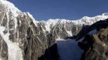 Bush Plane Flies Towards And Across Narrow Valley Glacier And Rock Face In Alaska Range, Alaska Range Mountains Denali National Park Zatzworks Cineflex Aerials Glaciers Alaska Peaks