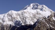 Valley Glaciers Flow In The Shadows Of Rugged Alaska Range Mountains, Zoom To Mount Mckinley In Denali National Park. Zatzworks Aerial Cineflex