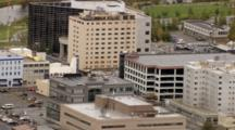 Downtown High Rise Apartments, Business Offices, Parking Garage, Fairbanks Alaska City. Cineflex Aerial Of Alaska By Zatzworks