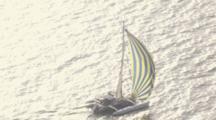 Cineflex Aerial Of A Catamaran Sailboat Underway On The Waters Of Prince William Sound In Bright Sunshine