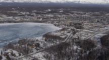 Cineflex Aerial Of Snowy Wasilla And Surrounding Mountains Alaska City