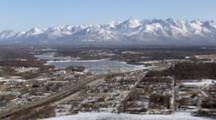 Zatzworks Cineflex Aerial Lazy Mountain Zooming Out To Reveal Downtown Wasilla Alaska City