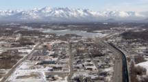 Zatzworks Cineflex Aerial George Parks Highway Through Downtown Wasilla Alaska With Lazy Mountain