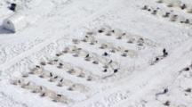 Aerial of Sled Dog Pens in alaska