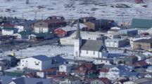 Cineflex Aerial Of Nome Alaska And Frozen Bering Sea During Winter Alaska City