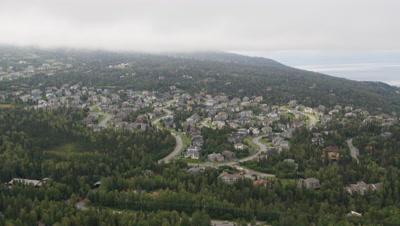 Aerial Above Anchorage Alaska Suburbs