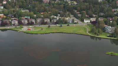 Aerial Above Lake Spenard,Suburbs in City of Anchorage