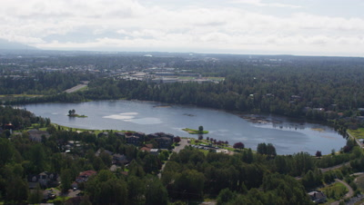 Aerial Above Lake Spenard,Park and Suburbs in City of Anchorage