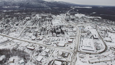 Aerial Above Anchorage,Alaska Suburb in Winter