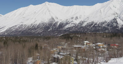 Low,Fast Aerial Over Snow Field to Reveal Person Cross Country Skiing with Dog Near Houses