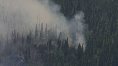Aerial Above Alaska Wildfire with smoke