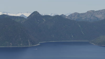 Aerial Coastal Alaska,panoramic view of Beaufort sea with mountain range behind