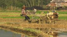 Rice  Farming In China Using Gas Powered Tractor Industrialization